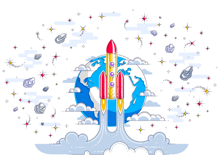 Rocket start from earth to space to discover undiscovered