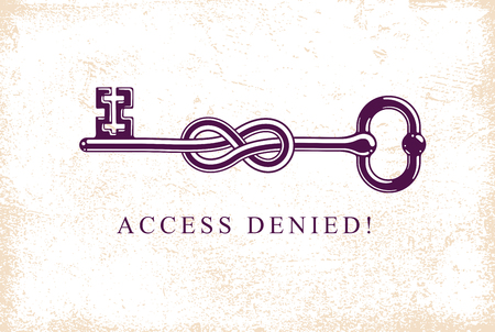 Access Denied, Knotted key allegorical symbol, vintage antique turnkey in a knot