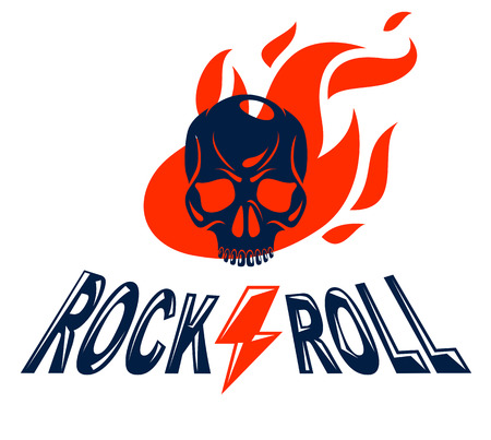 Skull in a flames Hard Rock music  or emblem