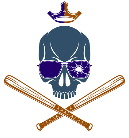 Criminal tattoo gang emblem or logo with aggressive skull baseball bats design elements