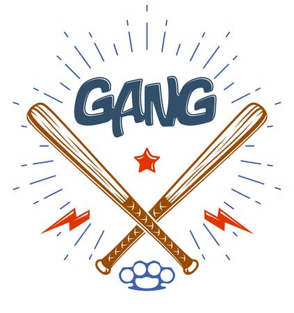 Baseball bats crossed  criminal gang logo or sign