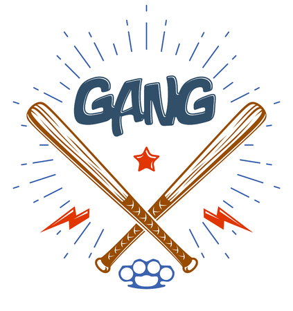 Baseball bats crossed  criminal gang logo or sign