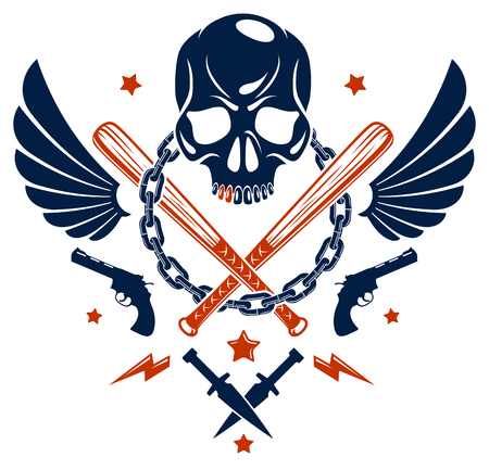 Gang brutal criminal emblem with aggressive skull baseball bats and other weapons and design elements Vectores
