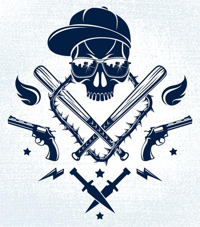Gang brutal criminal emblem with aggressive skull baseball bats and other weapons and design elements Illustration