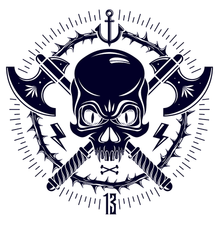 Aggressive skull pirate emblem Jolly Roger with weapons and other design elements