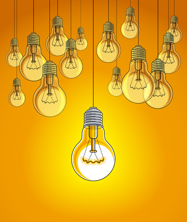 Light bulbs beautiful vector illustration with single one shining, idea concept, think different, stand out of crowd, creative inspiration. Illustration
