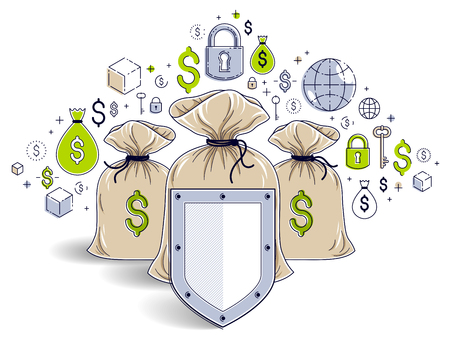 Shield over 3 money bags