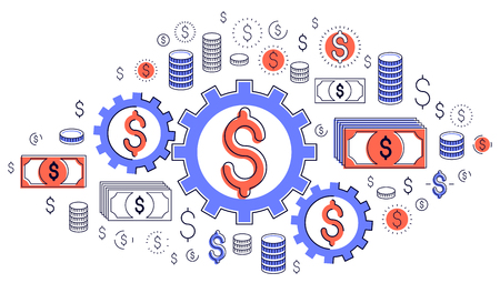Economy system and business concept, gears and cogs mechanism with dollar signs and icon set, allegory design of systematic business and financial activity, vector illustration. Ilustração
