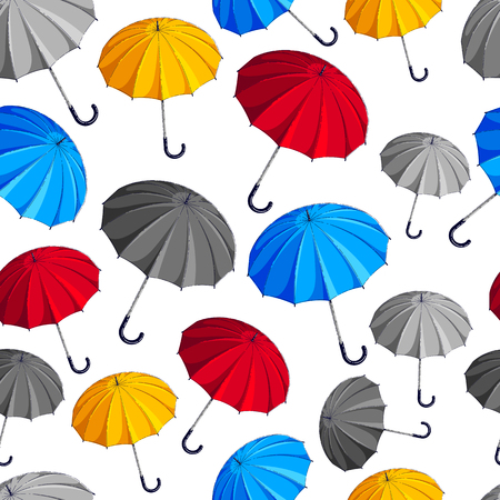 Umbrellas seamless background, weather and outdoors, fashion accessories theme, vector wallpaper or web site background. Illustration