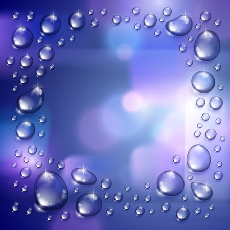 Water rain drops or condensation over blurred background frame with copy space realistic transparent 3d vector illustration, easy to put over any background or use droplets separately.