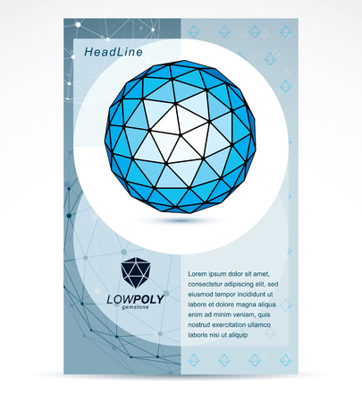 New technology theme booklet cover design, front page. 3D engineering vector, abstract blue polygonal shape.