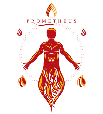 Vector illustration of human, athlete. Prometheus concept.