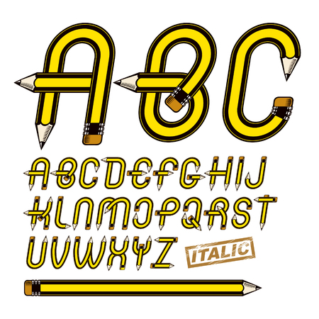 Set of vector upper case English alphabet letters isolated created using stationery design, constructed with pencils. Best for use in logotype design for drawing art class. Illustration