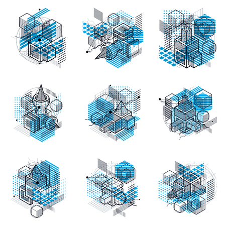 Abstract backgrounds with isometric elements, vector linear art with lines and shapes. Cubes, hexagons, squares, rectangles and different abstract elements. Vector set.
