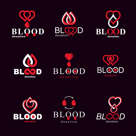 Set of vector blood donation conceptual illustrations. Hematology theme, medical treatment designs for use in pharmacy.