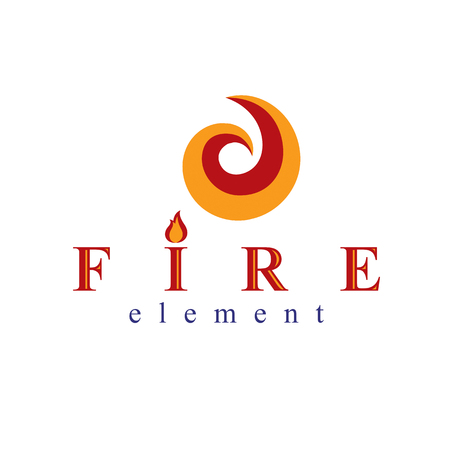 The power of burning fire, nature element vector logo for use in petrol and gas advertising. Illustration
