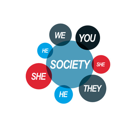 Social Relations conceptual logo, unique vector symbol. Society and Person, social interaction. Illustration