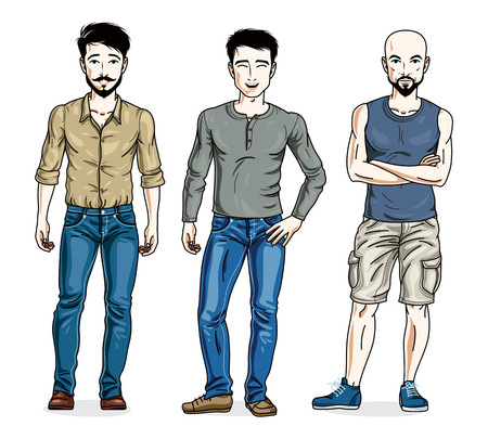 Happy men posing in stylish casual clothes. Vector people illustrations set.