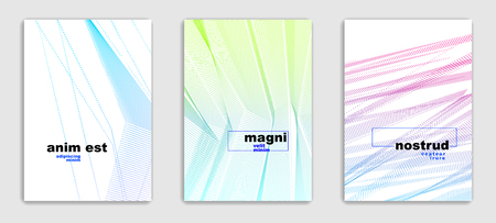 Linear vector minimal trendy brochures set design, cover templates, geometric halftone gradient. For Banners, Placards, Posters, Flyers. Beautiful and special, pattern texture. Illustration