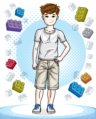 Teen cute little boy standing in stylish casual clothes. Vector character. Childhood lifestyle cartoon. Illustration