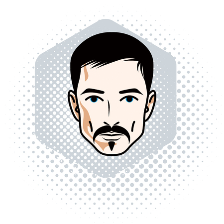 Man face, human head. Vector character wearing whiskers and beard, handsome brunet male. Illustration