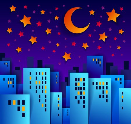 Cityscape in the night with moon and stars cartoon vector illustration in paper cut kids application style, high city buildings real property houses midnight time.