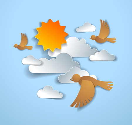 Birds flying in the sky among beautiful clouds and sun, summer cloudscape, vector illustration in paper cut kids style. Illustration
