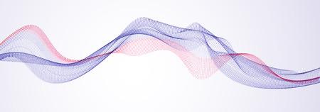 Welle von fließenden Partikeln moderne entspannende Illustration. Runde Punkte Vektor abstrakten Hintergrund. Schöne wellenförmige Anordnung von Mischpunkten.