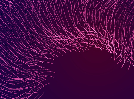 Flowing magic energy particles over dark, wave of blended dots transparent tulle textile on wind. Curved dotted 3d lines vector effect illustration. 3d futuristic style. Illustration