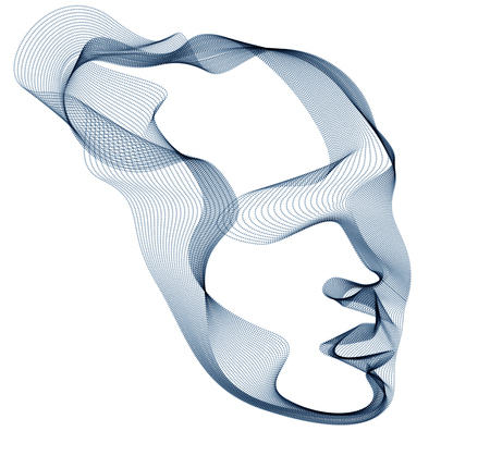 Abstract artistic human head portrait made of dotted particles array, vector illustration of Artificial Intelligence, software digital visual interface. Illustration