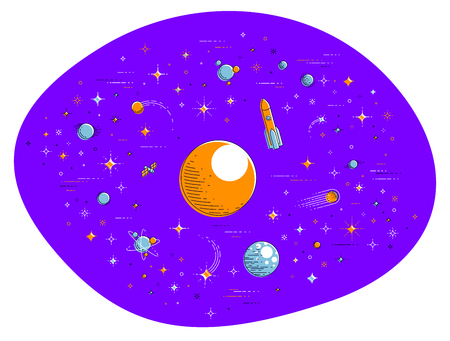 Fantastic galaxy with unknown weird undiscovered planets with stars, meteors, asteroids and other elements. Explore universe, breathtaking science fiction. Thin line 3d vector illustration isolated. Illustration
