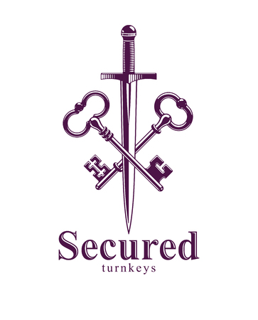 Crossed keys and dagger vector symbol emblem, turnkeys and sword, protected secrets, secured power, ancient vintage logo or emblem. Illustration