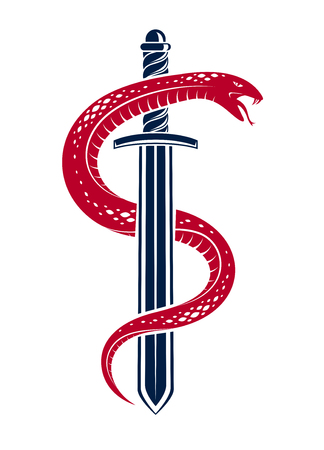 Snake and Dagger, Serpent wraps around a sword vector vintage tattoo, Roman god Mercury, luck and trickery, allegorical logo or emblem of ancient symbol. Ilustrace