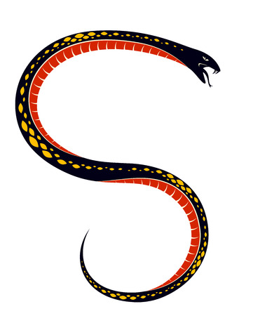 Venomous snake vintage tattoo, vector drawing of aggressive predator reptile, deadly poisoned serpent symbol, vintage style illustration.