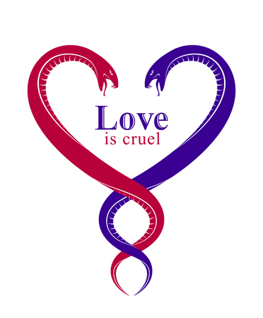 Two Snakes in a shape of heart, love is cruel concept, lovers couple arguing, quarrels in relations, vector logo emblem or tattoo in vintage classic style. Illustration