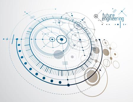 Fondo de pantalla de vector de tecnología de ingeniería hecho con círculos y líneas. Dibujo técnico resumen de antecedentes.
