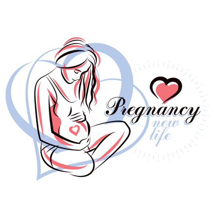 Pregnant woman elegant body silhouette, sketchy vector illustration. Obstetrics and gynecology clinic advertising banner