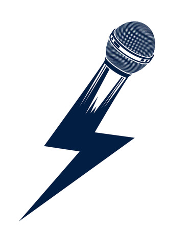 Microphone in a shape of lightning, mic like a bolt, breaking news concept, rap battle rhymes music, karaoke singing or standup comedy, vector logo or illustration.