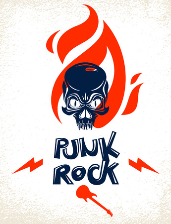 Skull on fire Rock and Roll vector or emblem, aggressive skull dead head in flames Hard Rock label, Punk music festival concert or club, musical instruments shop or recording studio. Illustration