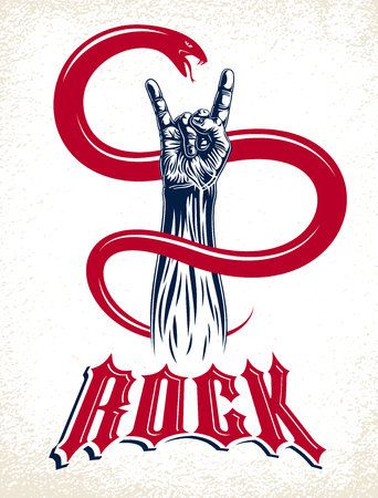 Rock hand sign with aggressive snake, hot music Rock and Roll gesture and serpent, Hard Rock festival concert or club, vector label emblem or logo, musical instruments shop or recording studio.