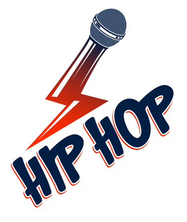 Rap music vector logo or emblem with microphone in a shape of lightning bolt, Hip Hop rhymes festival concert or night club party label, t-shirt print.