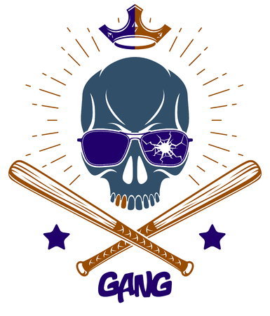 Brutal gangster emblem or logo with aggressive skull baseball bats design elements, vector anarchy crime or terrorism retro style, ghetto revolutionary. Illustration