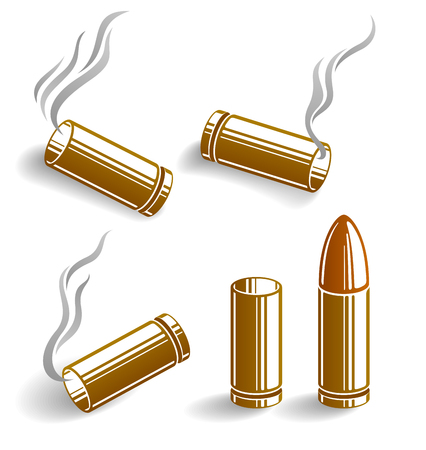 Bullets and used cartridges vector illustrations set, ammo for 9mm handgun gun. Illustration