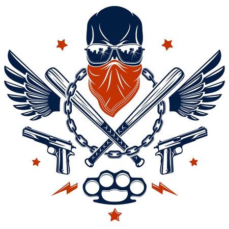 Logo ou tatouage d'emblème de gangster avec des battes de baseball agressives de crâne et d'autres armes et éléments de conception, vecteur, style vintage de ghetto criminel, anarchie de gangster ou thème de mafia. Logo