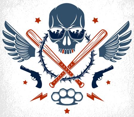 Tatuaje criminal, emblema de pandilla o logotipo con bates de béisbol de calavera agresivos y otras armas y elementos de diseño, vector, estilo vintage de bandit ghetto, anarquía de gángsters o tema de mafia.
