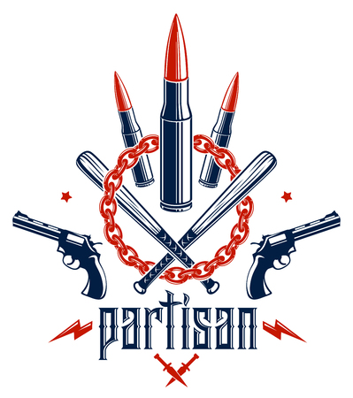 Revolution and War vector emblem with bullets and guns, logo or tattoo with lots of different design elements, riot partisan warrior, criminal and anarchist style, social tension theme.