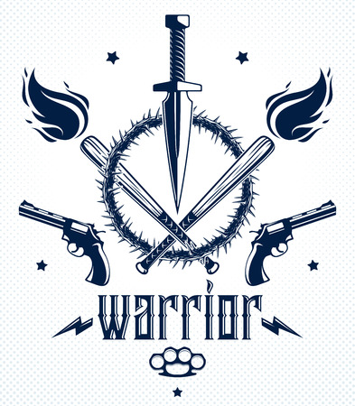 Revolution and War vector emblem with dagger knife and other weapons , tattoo with lots of design elements, riot partisan warrior, criminal and anarchist style, social tension theme.