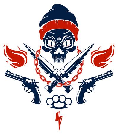 Emblème ou logo méchant de la révolution et de l'émeute avec un crâne agressif, des armes et différents éléments de conception, tatouage vectoriel, anarchie et chaos, partisan rebelle et révolutionnaire.