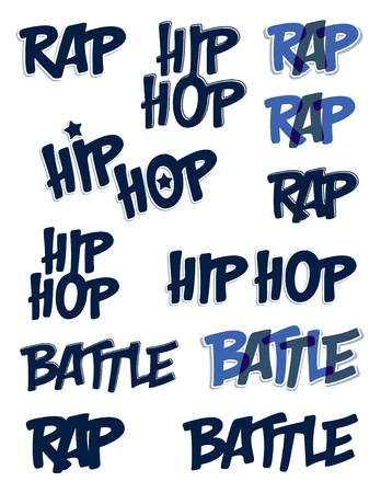 Rap battle vector typing big set, music theme logos.