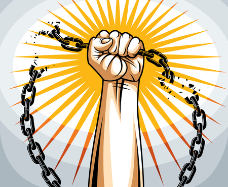 Slavery theme illustration with strong hand clenched fist fighting for freedom against chain, vector logo or tattoo, getting free, struggle for liberty.